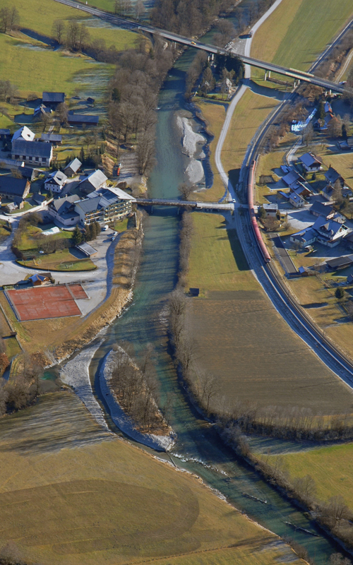 Overview of the restored site of River Enns with a new created side arm and locally widened river bed.